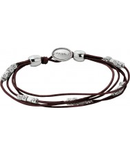 Fossil JA5798040 Damer mode svart läderarmband med silver nuggets