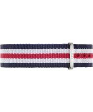 Daniel Wellington DW00200051 Damer klassiska canterbury 36mm silver vit blå och röd nylon reservband