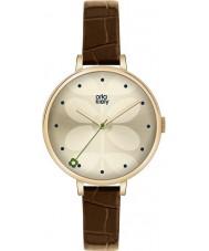 Orla Kiely OK2030 Damer murgröna brunt läder Strap Watch