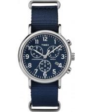Timex TW2P71300 Weeke slip thru blå Chrono klocka
