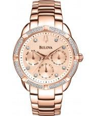 Bulova 98W178 Ladies diamant ökade guldpläterad chronographklockan