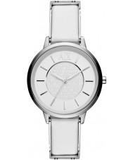 Armani Exchange AX5300 Damer vit läderrem klänning klocka