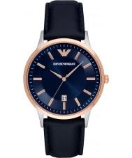 Emporio Armani AR2506 Mens klassisk blå läderrem klocka