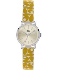 Orla Kiely OK2037 Damer patricia ekollon tryck gul grädde läderrem watch