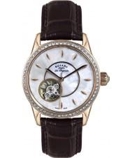 Rotary LS90515-41 Damer les origin jura automatisk brunt läder Strap Watch