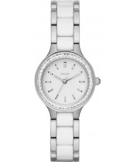 DKNY NY2494 Ladies kammare vit keramik länkar stål watch
