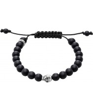 Thomas Sabo A1118-172-11-L Svart obsidian beaded armband med silverhodeskalle