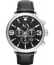 Armani Exchange AX1371 Män urbana svart läderrem chronographklockan