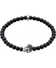 Thomas Sabo A1270-159-11-L19 Mens obsidian armband med svart zirkoniumskalle