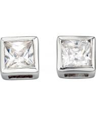 Charles Conrad E2932C Ladies kvadrat tydliga cz silver örhängen