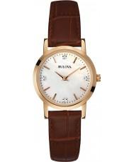 Bulova 97P105 Damer diamant brunt läder Strap Watch