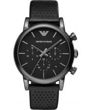 Emporio Armani AR1737 Mens klassiska kronograf ip svart läderrem klocka