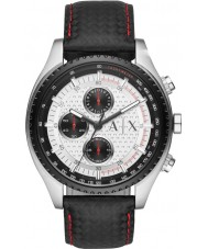 Armani Exchange AX1611 Män svart läderrem kronograf sportklocka