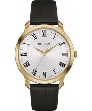 Bulova 97A123 Mens klänning svart läderrem klocka