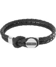 Emporio Armani EGS2178040 Mens signatur svarta läderarmband