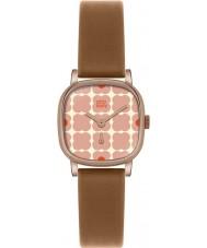 Orla Kiely OK2056 Ladies cecelia rosa blommig solbränna läderrem watch
