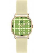 Orla Kiely OK2058 Ladies cecelia grön blommig grädde läder Strap Watch