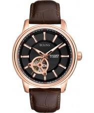 Bulova 97A109 Man rosa guld- brun mekanisk klocka