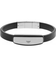 Emporio Armani EGS2186040 Mens signatur svarta läderarmband