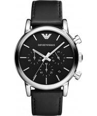 Emporio Armani AR1733 Mens klassiska kronograf svart läderrem klocka