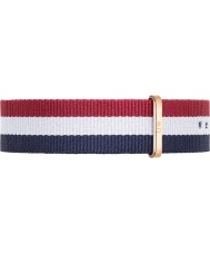 Daniel Wellington DW00200003 Mens klassiska 40mm Cambridge ökade guld blå vit och röd nylon reservband