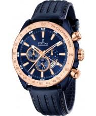 Festina F16897-1 Mens prestige blått skinn chronographklockan