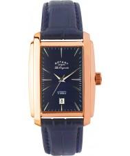 Rotary LE90014-05 Mens les origin ökade guld blå automatisk klocka