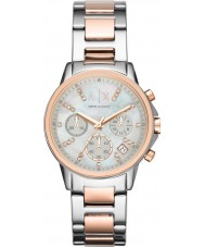 Armani Exchange AX4331 Damer silver och ökade guld kronograf klänning klocka