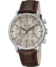 Festina F16893-7 Mens retro brunt läder chronographklockan