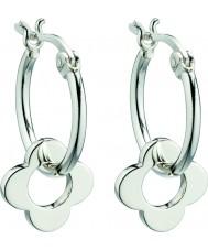 Orla Kiely E5226 Damer sterling silver fyra punkt blomma hoop örhängen