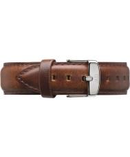 Daniel Wellington DW00200021 Mens klassiska St Mawes 40mm silver ljusbrun läder reservband