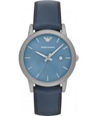 Emporio Armani AR1972 Mens klassisk blått skinn och silikon Strap Watch