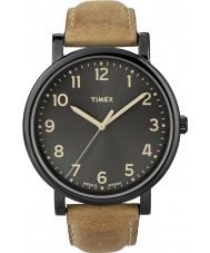 Timex T2N677 Mens svart brun klassisk rund klocka