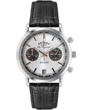 Rotary GS90130-06 Mens les origin sport avenger svart stål chronographklockan