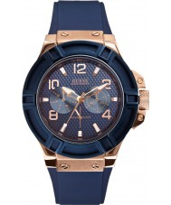 Guess W0247G3 Mens stringens blå silikon band watch