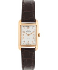 Rotary LS02699-01 Damer klockor portland vintage ser brunt läder Strap Watch