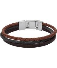 Fossil JF02213040 Man tillfälliga brunt flera läderrem armband