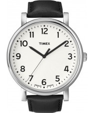 Timex T2N338 Mens vit svart klassisk rund klocka