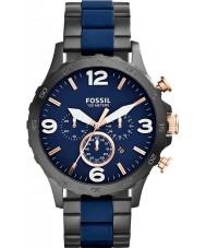 Fossil JR1494 Mens nate kronograf svart ip marinblå klocka