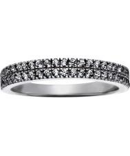 FROST by NOA 145043-56 Damer rodiumpläterad ring med två rader av cz - storlek p