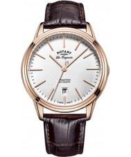 Rotary GS90164-02 Mens les origin tradition automatisk ros guldpläterad brunt läder Strap Watch