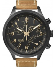 Timex T2N700 Mens black tan fly-back chronographklockan
