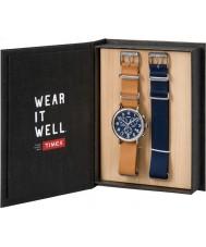 Timex TWG012800 Mens weeke tan läder och reserv blå nylon chronographklockan presentförpackning