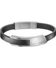 Calvin Klein KJ4MBB090100 Mens bump svarta läderarmband