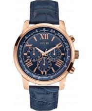 Guess W0380G5 Mens horisont blått skinn chronographklockan