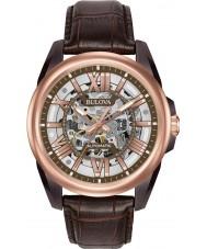 Bulova 98A165 Mens automatisk brunt läder Strap Watch