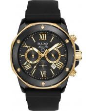 Bulova 98B278 Mens marin stjärna guld svart gummiband klocka