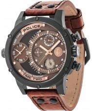 Police 14536JSB-12A Mens huggorm brunt läder Strap Watch