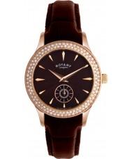 Rotary LS02907-16 Ladies tidmätare kristaller brun urtavla och läderband klocka