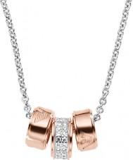 Emporio Armani EG3045040 Damer signatur steg guld halsband med silver rolo kedja